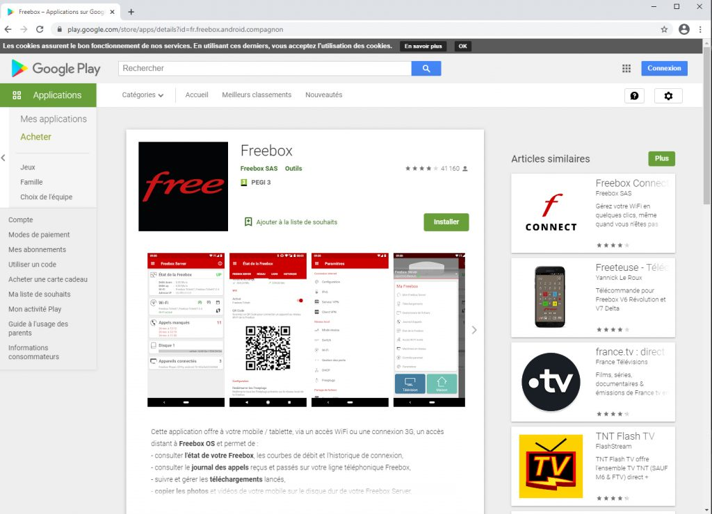 photo de l'application freebox